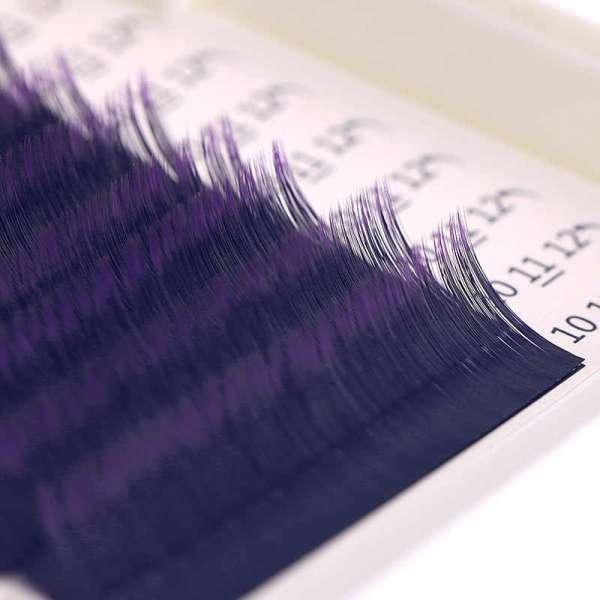 Lotus, Ресницы на ленте MIX (6 полос) Черные с фиолетовым кончиком, (0,10) СС-изгиб