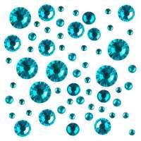 Стразы цветные микс размеров в баночке №3  (Blue Zircon)